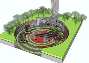 某城市广场改造详细设计SU(草图大师)模型