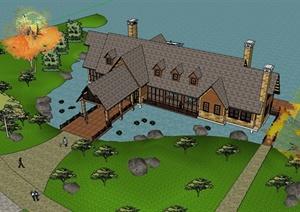 某欧式风格详细水上景观会所建筑设计SU(草图大师)模型