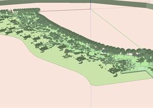 现代风格详细生态湿地公园景观设计SU(草图大师)模型