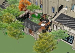 某小高层项目北庭院景观方案SU(草图大师)精细模型