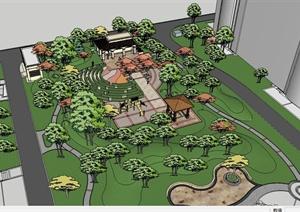 欧式风格住宅中庭小区景观设计SU(草图大师)模型