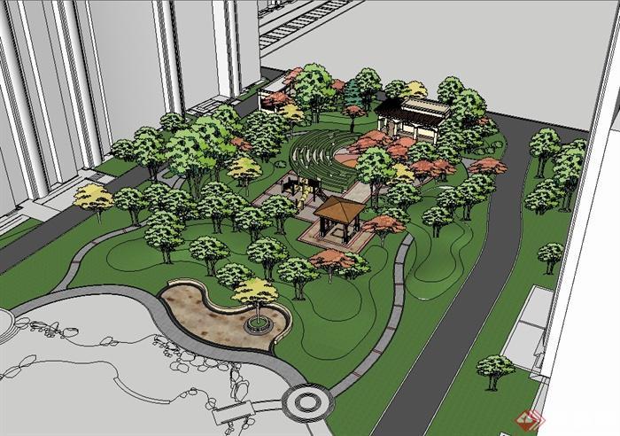 欧式风格住宅中庭小区景观设计su模型[原创]