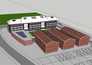 厦门大学翔安校区教学楼设计SU(草图大师)模型