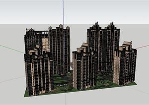 某现代风格住宅地块建筑楼设计SU(草图大师)模型