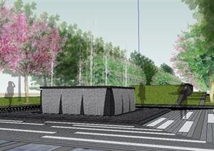 现代绿地景观轴线设计SU(草图大师)模型