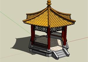 古典中式风格详细的六角亭设计SU(草图大师)模型