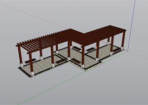 现代风格详细的廊架设计SU(草图大师)模型