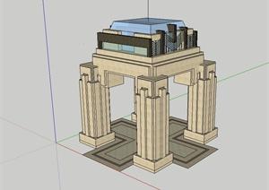 新古典风格独特造型的景观亭设计SU(草图大师)模型