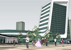 现代风格商业广场建筑及景观SU(草图大师)模型