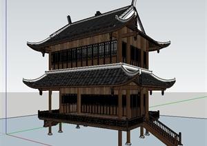 中式风格戏楼文化建筑设计SU(草图大师)模型