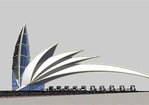 现代风收费站设计SU(草图大师)模型