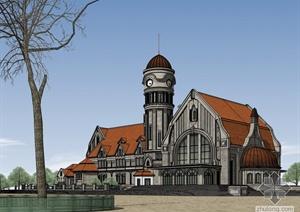欧式老车站建筑设计SketchUp模型