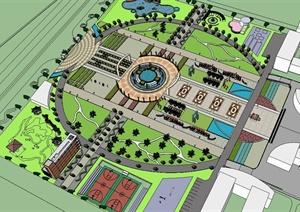 某现代风格详细的学校大广场精细设计SU(草图大师)模型
