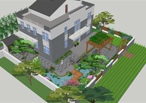 某现代中式风格详细庭院景观设计SU(草图大师)模型及cad方案