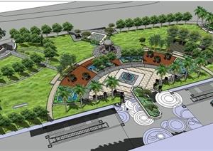 某欧式风格详细购物广场景观设计SU(草图大师)草图