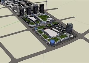 某现代风格详细的商业办公楼设计SU(草图大师)模型