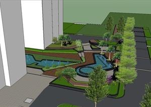 现代风格莱茵大厦景观设计SU(草图大师)模型