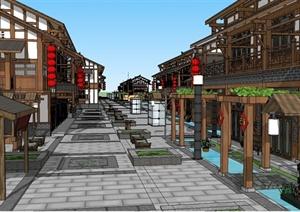 现代中式风格详细商业建筑SU(草图大师)模型