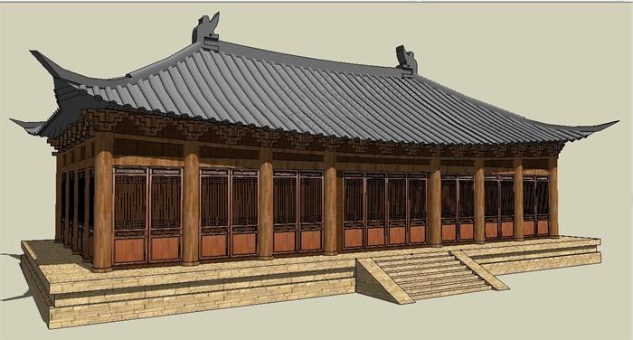 汉代大殿建筑设计su模型[原创]图片