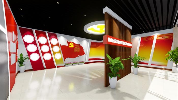 现代风格室内党史党建展厅设计su模型及效果图
