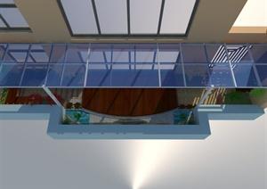 现代风格详细室外露台设计SU(草图大师)模型及效果图