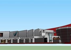 现代购物中心电影院建筑SU(草图大师)模型