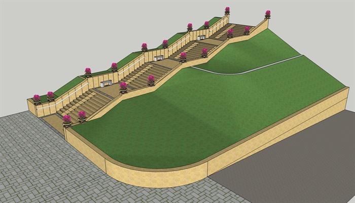 欧式风格详细的台阶坡道设计su模型[原创]