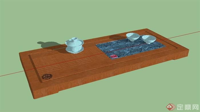 中式茶具套装素材su模型[原创]