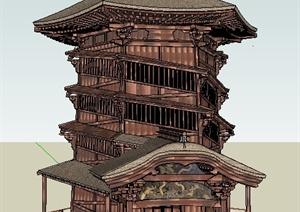 古典风格塔楼设计SU(草图大师)模型