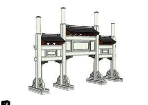 现代中式详细的牌坊门设计SU(草图大师)模型