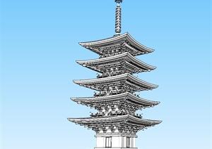 古典中式风格玲珑塔设计SU(草图大师)模型