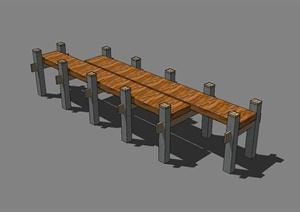 小木园桥设计SU(草图大师)模型