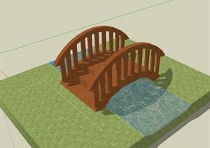 现代风格全木过河园桥设计SU(草图大师)模型