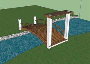 现代风格详细的过河拱桥设计SU(草图大师)模型