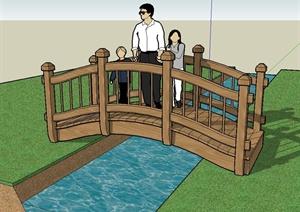 某公园详细精致的木园桥设计SU(草图大师)模型