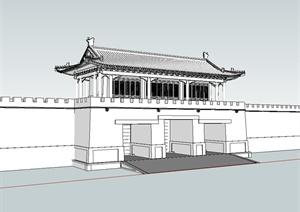 古典中式风格城门楼建筑SU(草图大师)模型
