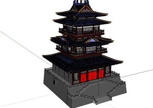 古典中式风格藏经阁塔楼建筑设计SU(草图大师)模型