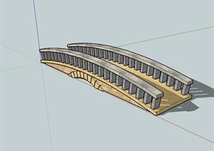 现代精致详细完整的园桥设计SU(草图大师)模型
