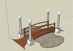 现代独特精致的园桥设计SU(草图大师)模型
