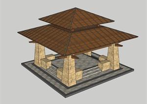 东南亚风格精致的亭子设计SU(草图大师)模型