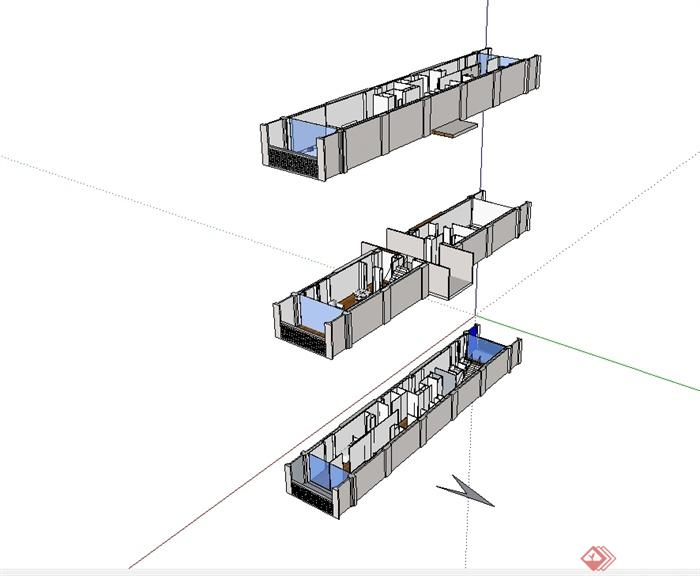 某现代简单的马赛公寓单元住宅室内设计su模型(1)
