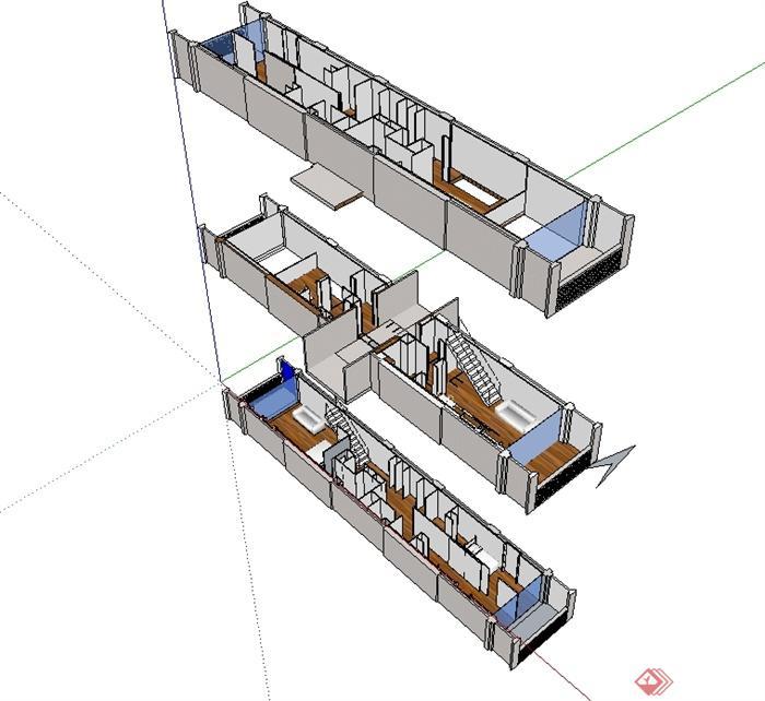 某现代简单的马赛公寓单元住宅室内设计su模型(2)