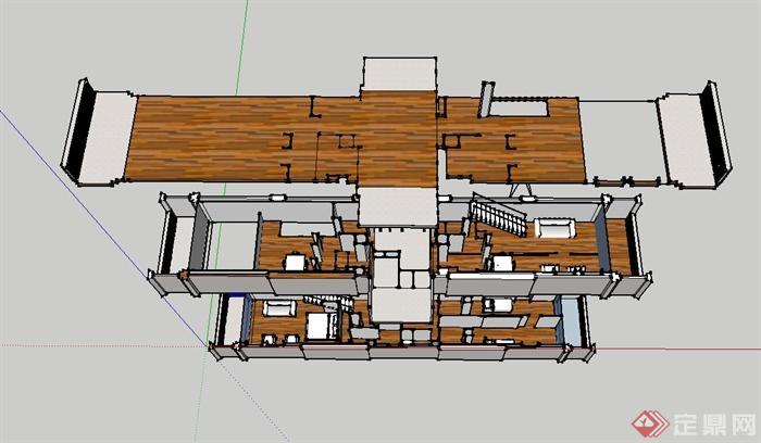 某现代简单的马赛公寓单元住宅室内设计su模型(4)