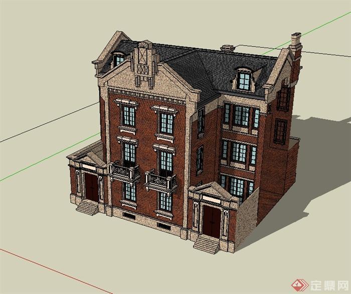 某歐式風格住宅雙拼別墅建筑設計su模型[原創]