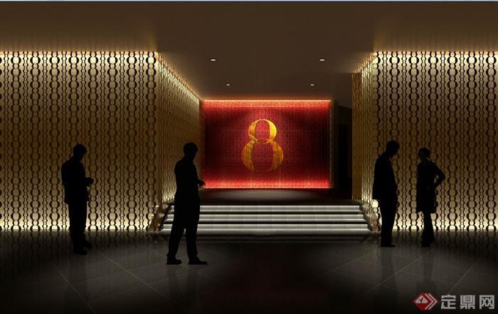 澳门五星级酒店中餐厅装修设计cad施工图(含效果)(2)