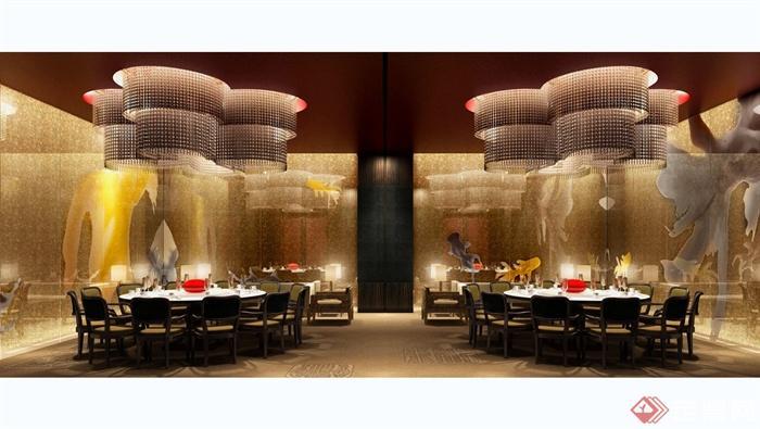 澳门五星级酒店中餐厅装修设计cad施工图(含效果)(3)