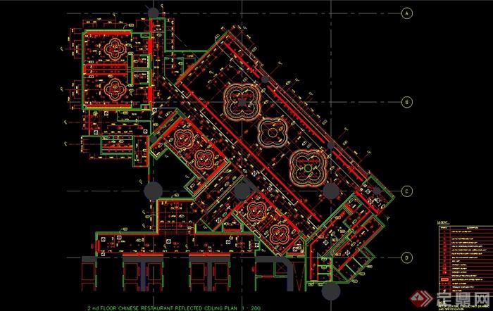 澳门五星级酒店中餐厅装修设计cad施工图(含效果)(5)
