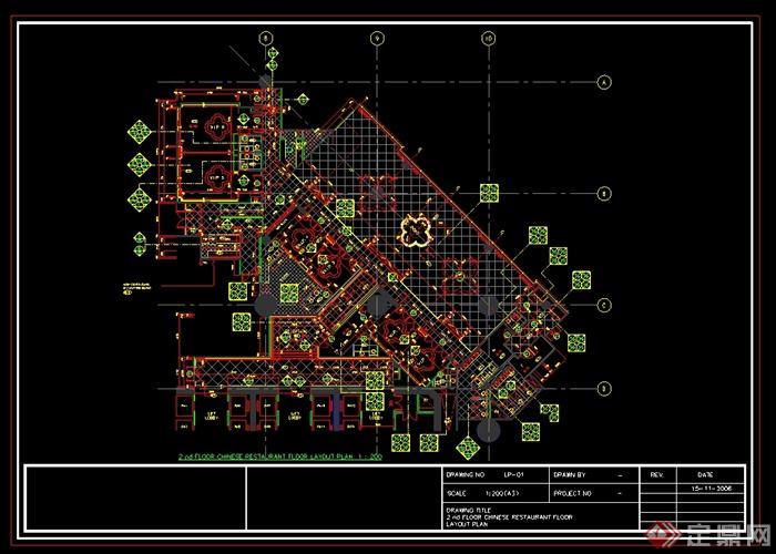 澳门五星级酒店中餐厅装修设计cad施工图(含效果)(6)
