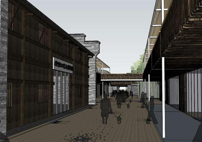古街旅游改造建筑方案su设计模型[原创]