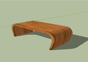 现代风格全木质的茶几桌子设计SU(草图大师)模型